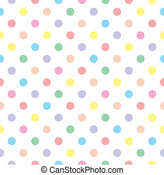Seamless vector sweet pattern or texture with colorful pastel polka dots on white background for kids background, blog, web design, scrapbooks, party or baby shower invitations and wedding cards.