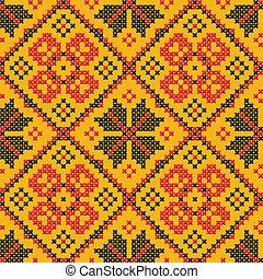 Seamless vector texture - Ukrainian cross-stitch ornament