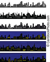 Seamless vector town - Collection of seamless vector towns