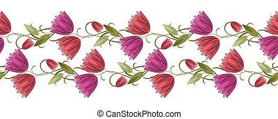 Seamless vector tulip flower border on white background