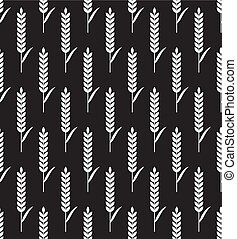 Seamless vector wheat ears pattern . Brown background