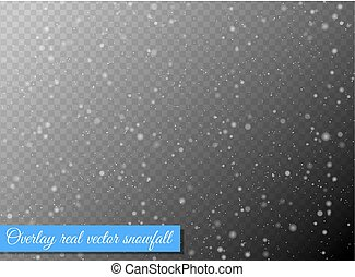 Seamless vector white snowfall effect on black transparent...