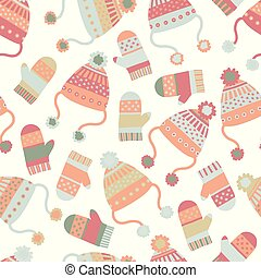 Seamless vector winter background with hats and mittens. Pattern tile with knitted clothes in pastel hues. Winter wear design, flat Scandinavian style. Use for paper, banner, cards, poster, fabric