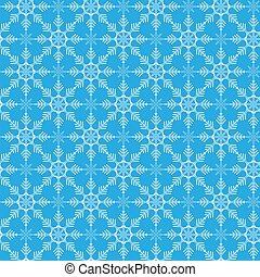 Seamless vector winter pattern of snowflakes on a blue background