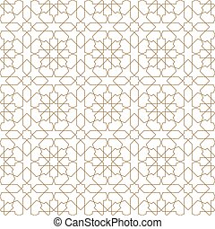 Seamless islamic geometric pattern .Brown color lines.Thin lines.
