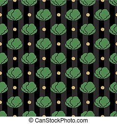 seamless vegetable with gold dot glitter pattern on stripe background