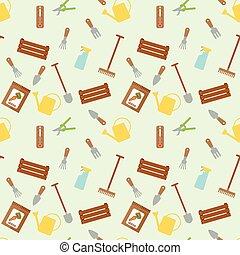 seamless, vektor, mønster, hos, have værktøj, og, pakker, hos, sæd, i, gulerod, på, lys, gul, baggrund.