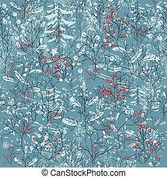 seamless, vendemmia, blu, modello, con, inverno, forest.