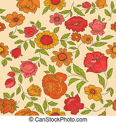 seamless, vendimia, flor, plano de fondo, -, para, diseño, y, álbum de recortes, -, en, vector