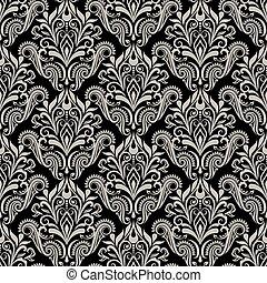 seamless, vendimia, floral, papel pintado, vector, pattern.
