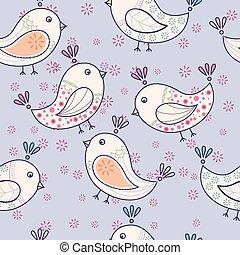 seamless, vendimia, patrón, con, aves