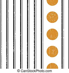 Seamless Vertical Black Stripe and Gold Circle Pattern. Vector Wrapping Paper Background