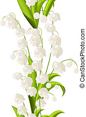 Seamless vertical border with lily of the valley