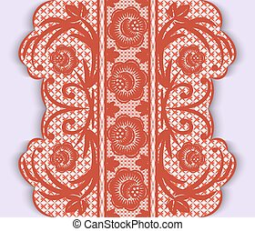 Seamless vertical lace ribbon with flowers
