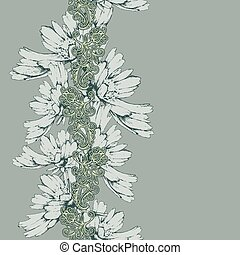 Seamless vertical pattern of decorative flowers hand-drawing. Ve