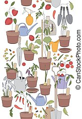 Seamless vertical pattern with gardening tools, flower pots, herbs and vegetables.
