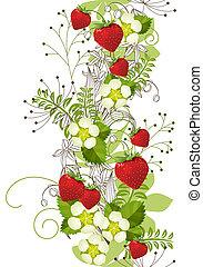 seamless, vertikal, blom- mönstra, med, vild, smultron