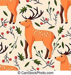 seamless, vetorial, bosque, pattern.