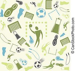seamless., vetorial, desporto, fundo, handball.