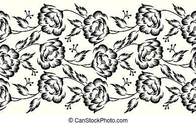 seamless, vetorial, fronteira floral