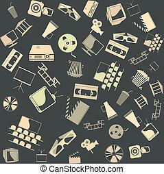seamless., vetorial, fundo, retro, película