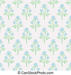 seamless, vetorial, padrão, com, flores azuis