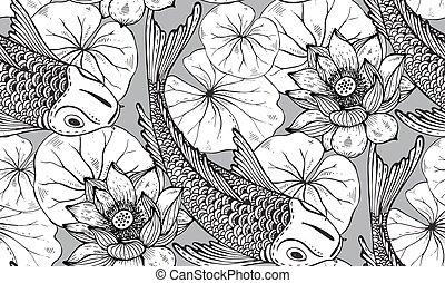 seamless, vetorial, padrão, com, mão, desenhado, peixes koi, com, loto