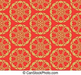 seamless, vetorial, padrão, coreano