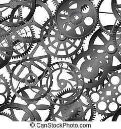 seamless, vetorial, textura, -, relógio, engrenagens
