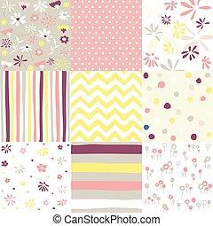 seamless, vettore, backgrounds., pasqua, patterns., primavera