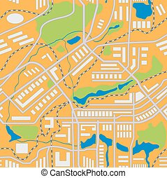 seamless, vettore, città, pattern., mappa