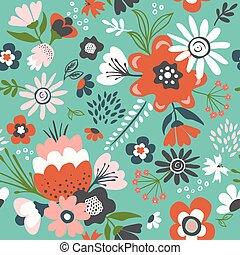 seamless, vettore, fiore, pattern.