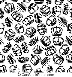 Seamless victorian royal crowns pattern background
