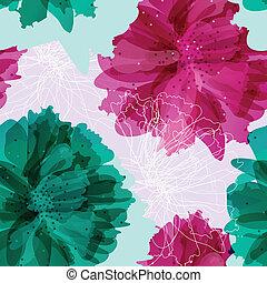 seamless, vindima, padrão, com, flores coloridas