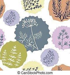 seamless, vindima, padrão, mão, desenhado, ervas