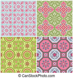 Seamless Vintage Background Collection - Victorian Colorful...
