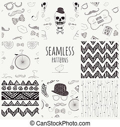 Seamless Vintage Background Set.