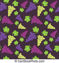 Seamless vintage background with bunch of grapes