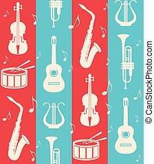 seamless vintage background with music instruments