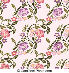 Seamless Vintage colorful rose flower pattern
