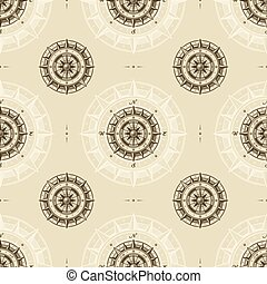 Seamless vintage compass pattern