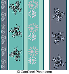 Seamless vintage floral butterfly pastel pattern background