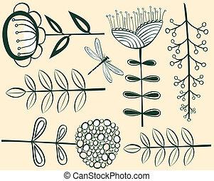 seamless vintage flower pattern herbarium. Vector...