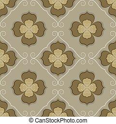 Seamless vintage flower wallpaper vector pattern.