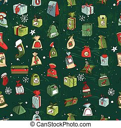 Seamless vintage green pattern with traditional Christmas gift boxes and presents.