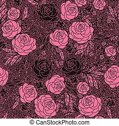 Seamless vintage inspired Rose Pattern, vector background