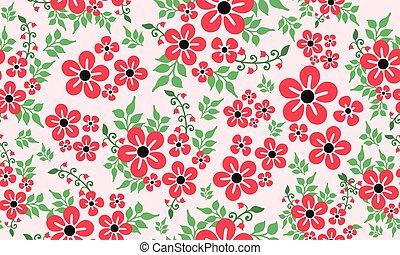Seamless vintage leaf flower, artwork of floral pattern background.