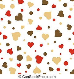 Seamless vintage love red and gold heart background in white. Great for baby announcement, Valentine's Day, Mother's Day, Easter, wedding, scrapbook, gift wrapping paper, textiles.