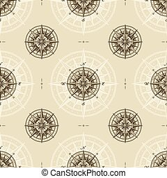 Seamless vintage nautical compass rose pattern