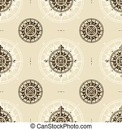 Seamless vintage nautical medieval wind rose pattern